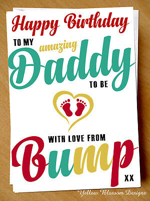 Birthday Daddy To Be Card From Baby Bump Father Dad Funny Humour Alternative Fun