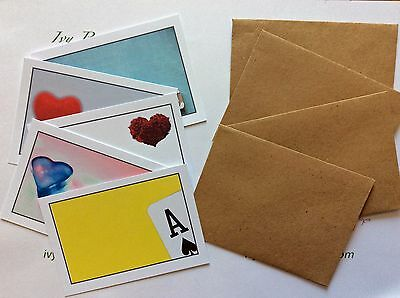 12 individual love themed blank cards & envelopes ideal love notes/treasure hunt