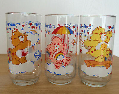 Vgt Care Bears Tall Drinking Glass X 3 Tenderhear Cheer Funshine Bilingual 1984
