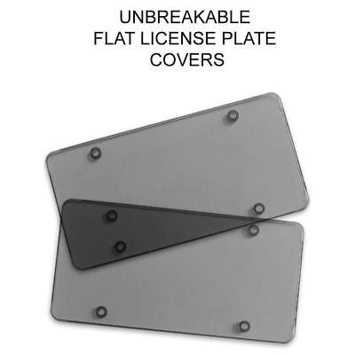 2Pcs Smoked Flat License Plate Cover Shield Tinted Plastic Tag Protector CA