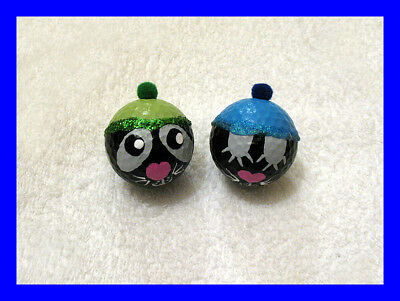 2-Pc Dog Cat Hand painted Art One Of A Kind Painting Golf Balls Glitter Hats