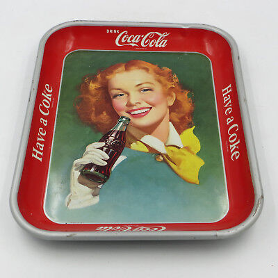 "Vintage Coca-Cola ""Have a Coke"" 10""x13"" Serving Tray Red-Haired Girl 1948-1952"