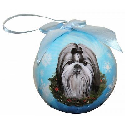 Shih Tzu Black Shatterproof Ball Dog Christmas Ornament