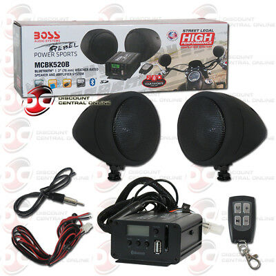 Boss Marine Motorcycle Bluetooth Pair Full Range Speaker + Amplifier + Remote