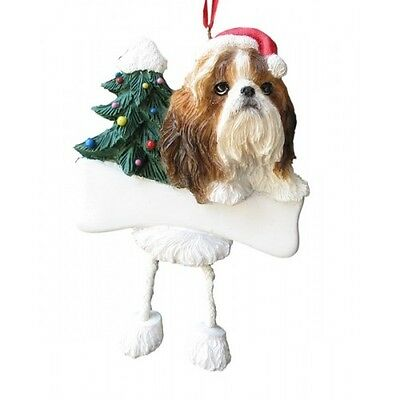 Shih Tzu Tan Dangling Wobbly Leg Dog Bone Christmas Ornament