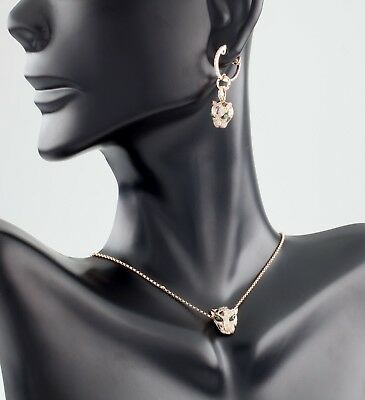 Effy 14k Rose Gold Diamond and Emerald Leopard Pendant and Earrings! Great Deal!