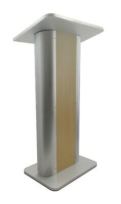 Maple Melamine Podium Pulpit Lectern With Curved Brushed Stainless Steel Sides