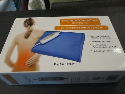 """Heating Pad Comfortable Moist/Dry Heat Personal Care Plus King Size 12""""x24"""""""