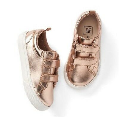 0c6d80b92d2 Baby Gap Girl s Rose Gold Metallic Strappy Trainers Sneakers Shoes Size 9  EUC