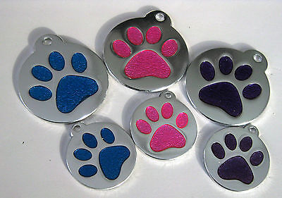 Glitter Paw  pet ID Tags, Dog/cat personalized custom engraving Aluminum  enamel