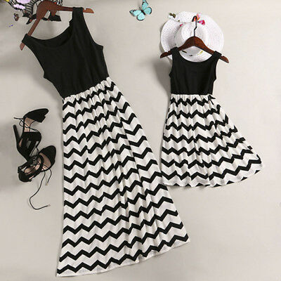 UK Mother and Daughter Casual Boho Stripe Maxi Dress Mom&Kid Matching Set Outfit