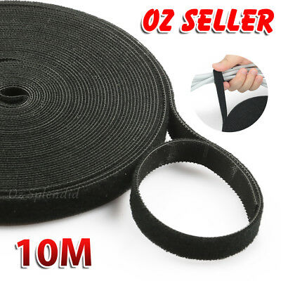 10M Hook & Loop Heavy Duty Nylon Strap Reusable Cable Ties Grip TV PC Tidy Wrap