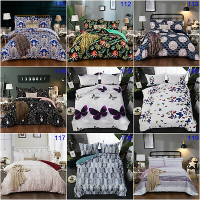 Paisley Butterfly Doona Quilt Duvet Cover Set Queen King Double Size Bed Animal
