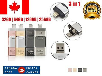 32/64/128/256 iFlash Memory USB 3 IN 1 OTG Disk Key Drive Pen For iPhone Android