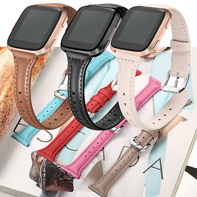 Fasion Slim Genuine Leather Watch Wrist Band Bracelet for Fitbit Versa Women man