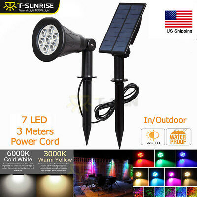 Solar Power 7 LED Spot lights Waterproof Outdoor Security Lawn Path Split Lamps