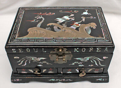 Box Jewelry Box Little Box Asian Art Dragon Korea Inlaid Mother of Pearl