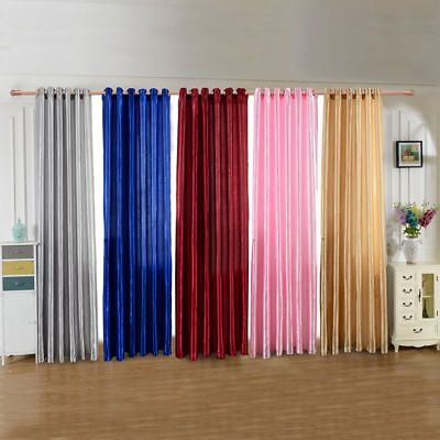 Solid Lined Panel Thermal Blackout Balcony Window Room Curtain Grommet Drape