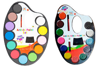 Kids Artist Paint Palette Brush Set Water Colour Childrens Arts Crafts Painting
