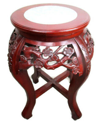 Hand Carved Red Wood Chinese Marble Top Hall Console Table Pedestal Tabouret