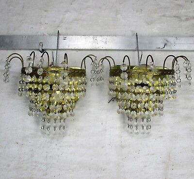 Petite Empire Prisms Chandelier Sconces Wall Lamps Lights pair Light Brass Metal