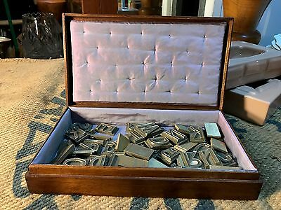 Collection of 52 Antique Brass Industrial Printer's Press Letters in Cedar Box