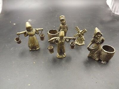 Antique Mixed Bundle Of Vintage Brass Items Dutch Themed Most 3In Tall