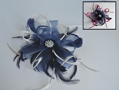 Navy blue & grey/pink/bespoke colour feather & crystal fascinator hair comb. UK