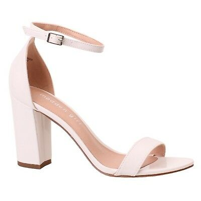 d17aa2881d8 Women Madden Girl BEELLA White Patent Ankle Buckle Strap Block Heel Sandal  Shoes