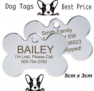 Large Engraved Pet Tags Nickel DOG ID Disc Free P&P Deep Engraving Name Identity