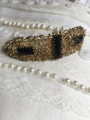 Antique Vintage Filigree Victorian Jewellery French Jet Glass Black Brooch Pin