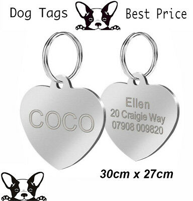 Engraved Pet Tag Nickel Heart  DOG ID Disc Free P&P Deep Engraving Name Identity