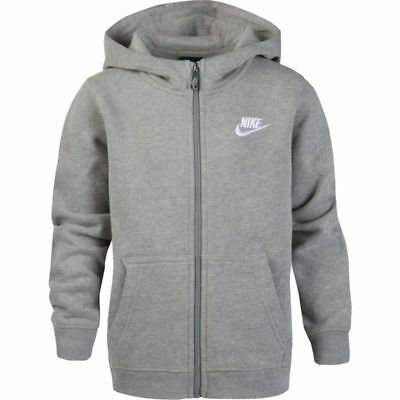 Nike Little Boys' Club Fleece Full Zip Hoodie Junior Hooded Top Jacket - Grey