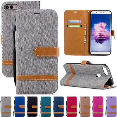 For Huawei P Smart Canvas Leather Flip Wallet Card Magnetic Kickstand Case Cover