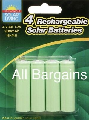 4 X AA Rechargeable Solar Power Batteries 1.2V 300 mah NI-MH Garden WINTER Light