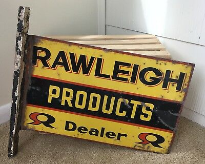 Advertising Vintage Metal Rawleigh Products Dealer Double Sided Flange Advertising Sign Farm
