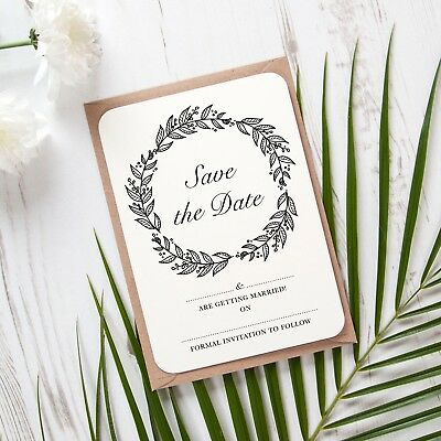 Pack of 10 Cards white//ivory DIY Blank Save the Date Light Pink Heart Bunting