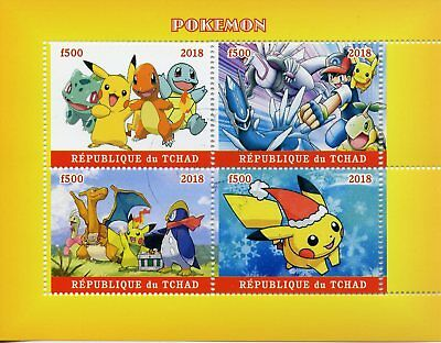 Chad 2018 CTO Pokemon Pikachu Bulbasaur Squirtle 4v MS Cartoons Animation Stamps