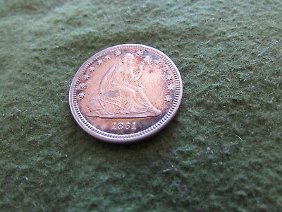 1861 Seated Liberty Quarter 1st Year Civil War 25 Cent Silver Coin Philadelphia