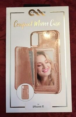 CaseMate Compact Mirror Wallet Case for iPhone X - Rose Gold