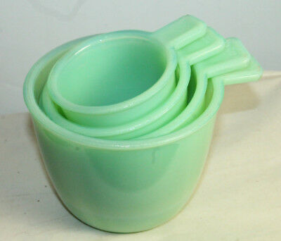 New Measuring Cups Jade Green Glass Nesting Set of 4 Jadeite Retro Vintage Style