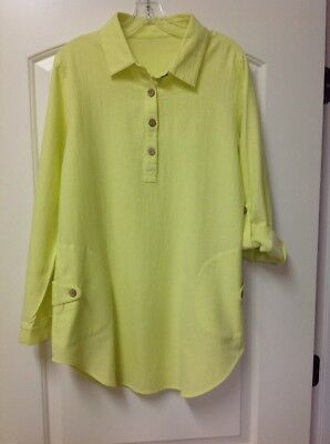 4d7d88134bf Soft Surroundings Day Tripper Tunic Gauzy Cotton Citron (Bright Yellow)  Small S