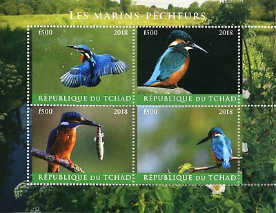 Chad 2018 CTO Kingfishers Kingfisher 4v M/S Marins-Pecheurs Birds Stamps