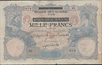 Tunisia 1000/100 Francs  17.5.1892  P 31 German Occ. WW II Circulated Banknote