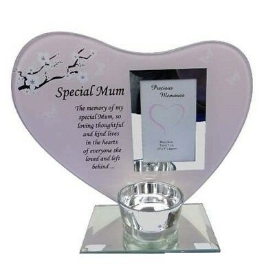 Special Mum Glass Photo Frame With Candle Holder Poem Plaque Memorial Ornament