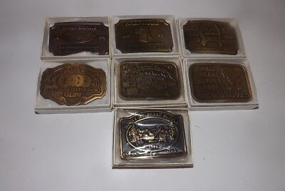 Collection of 7 Brass Belt Buckles - Hall Brake Supply - Made in USA - Nice Lot!