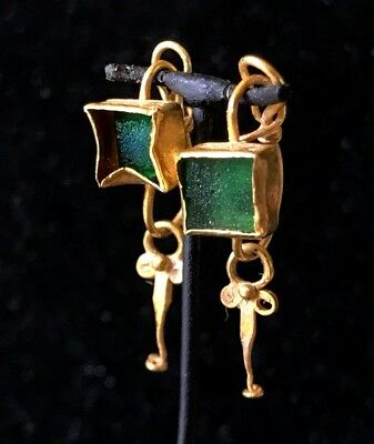 Ancient Roman Gold And Green Glass Pair Of Square Earrings! Super Nice & Rare!