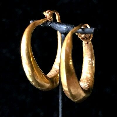 Ancient Roman-Byzantine Gold Hoop Earrings! Super Nice Pair!