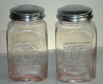 New Pink Depression Style Glass Salt and Pepper Shakers Vintage Style Retro Deco