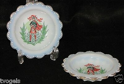 Wonderful Pair of Vintage Rare White Milk Glass Coasters with Scottish Bag Pipes